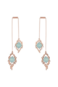 Rose Gold Finish Dangler Earrings by ESME