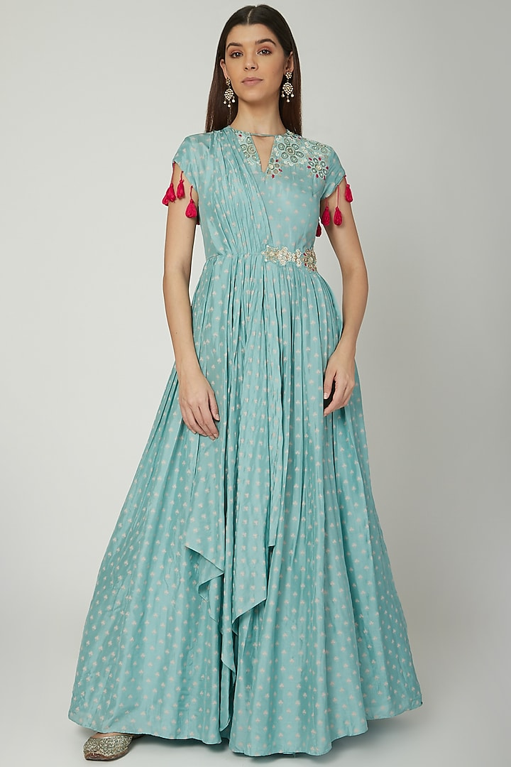 Aqua Blue Embroidered Anarkali With Attached Dupatta by Ek Soot
