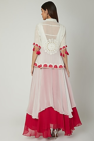 Off White Anarkali With Embroidered Jacket by Ek Soot