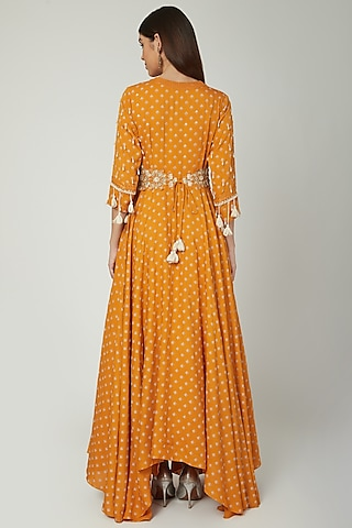 Mango Yellow Printed Anarkali With Embroidered Belt by Ek Soot