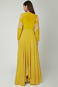 Mustard Jumpsuit With Printed & Embroidered Jacket by Ek Soot