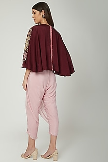 Light Pink Dhoti Jumpsuit With Embroidered Jacket by Ek Soot