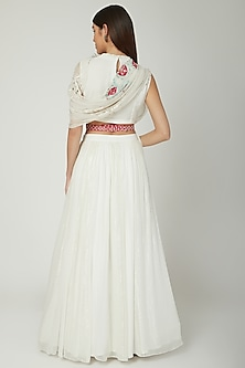 Off White Embroidered Draped Lehenga Set by Ek Soot