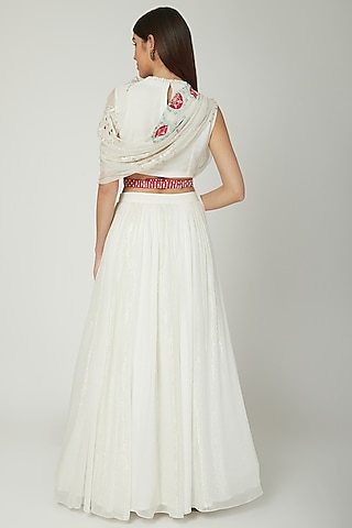 Off White Embroidered Draped Lehenga Set by Ek Soot