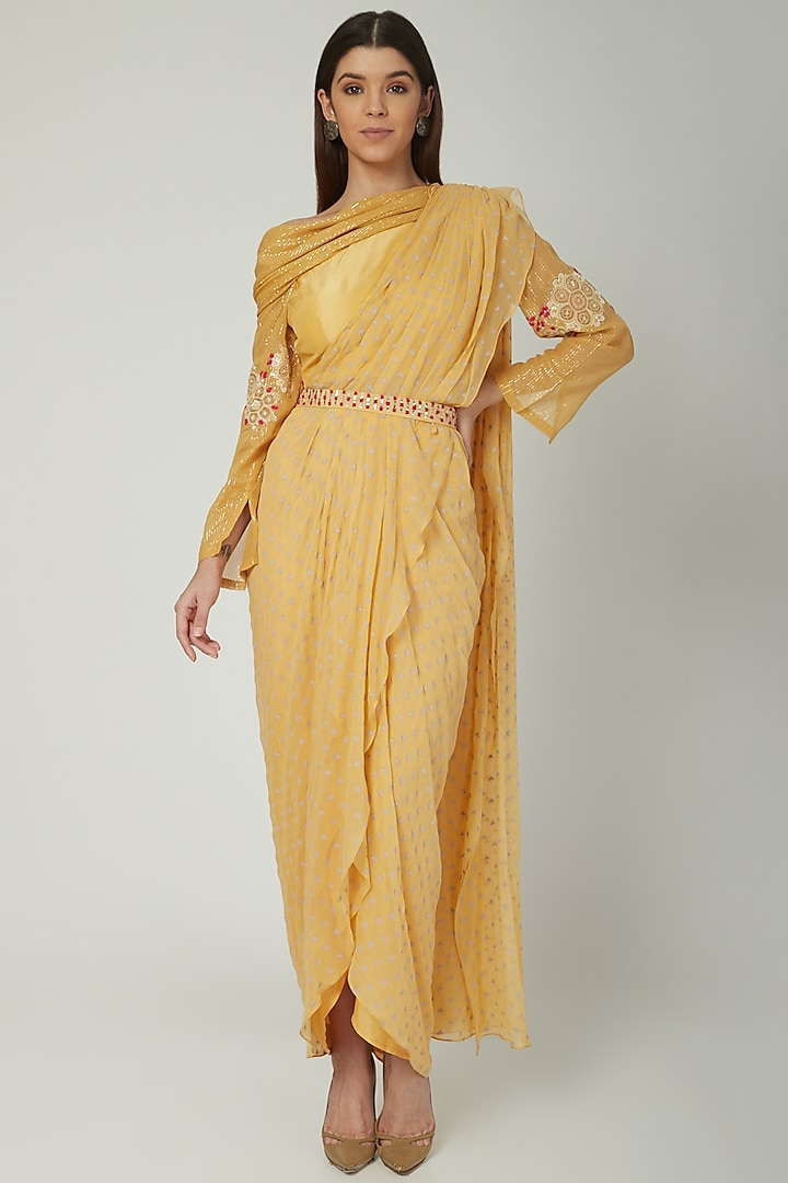 Pale Yellow Printed & Embroidered Saree Set by Ek Soot