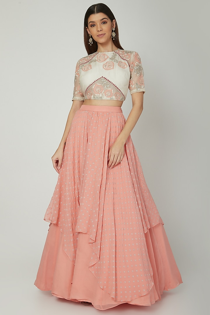 Dusty Peach Lehenga With White Embroidered Blouse by Ek Soot