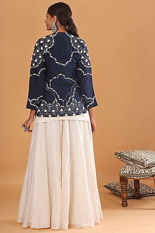 Off White Embroidered Sharara Set by Ek Soot