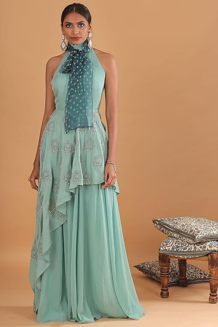 Sea Green Embroidered Sharara Set by Ek Soot