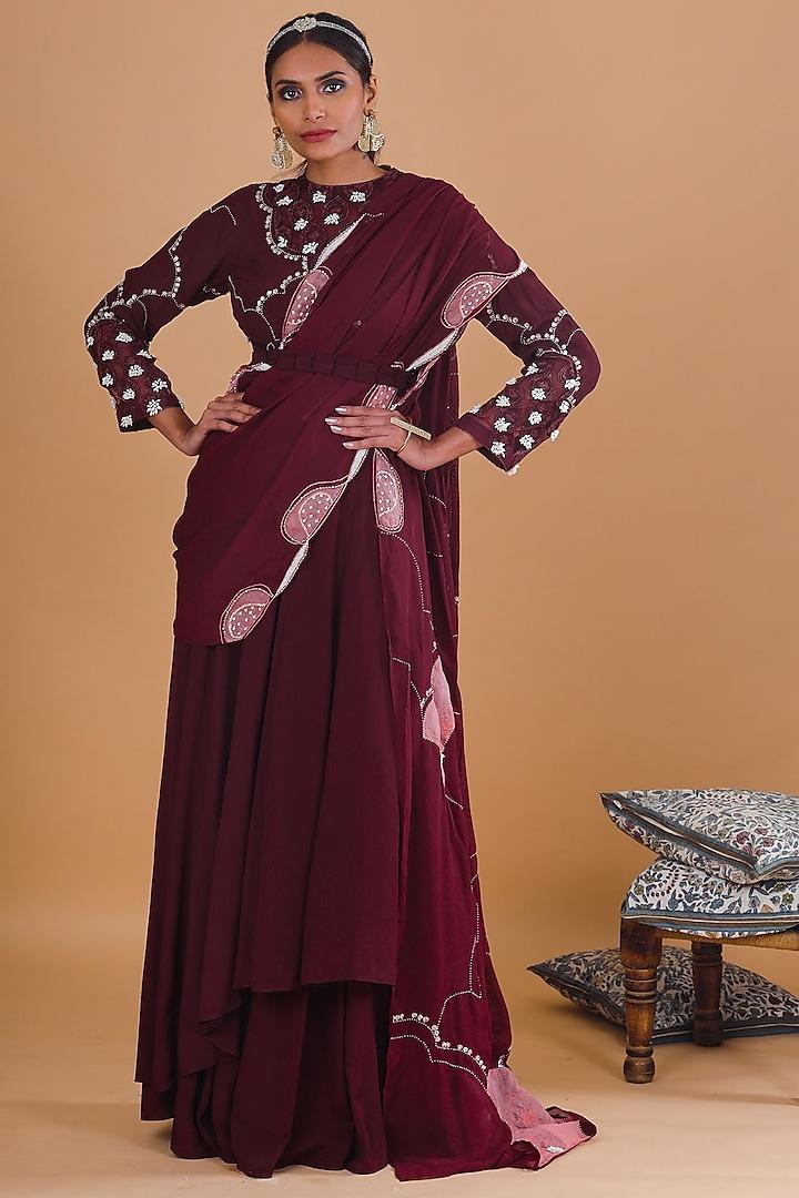 Burgundy Embroidered Skirt Set by Ek Soot