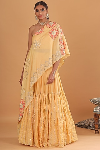 Pale Yellow Embroidered Skirt With Cape by Ek Soot