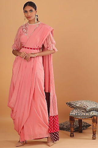 Pink Embroidered Draped Triple Layered Saree by Ek Soot
