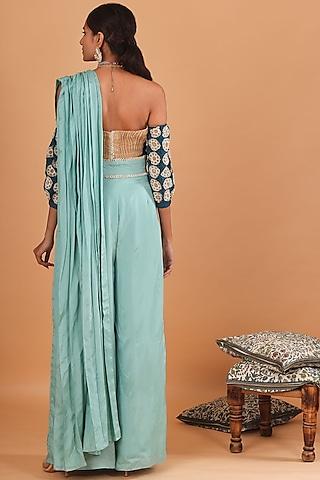 Teal Blue & Aqua Blue Embroidered Pant Saree Set by Ek Soot