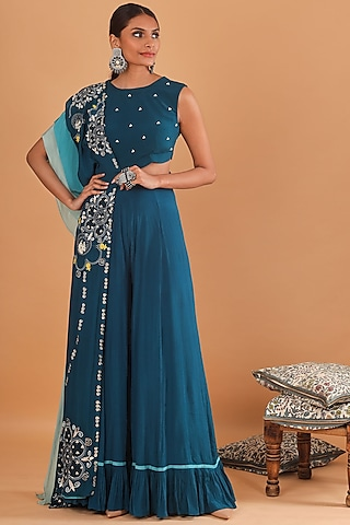 Teal Blue Embroidered Jumpsuit With Attached Dupatta by Ek Soot