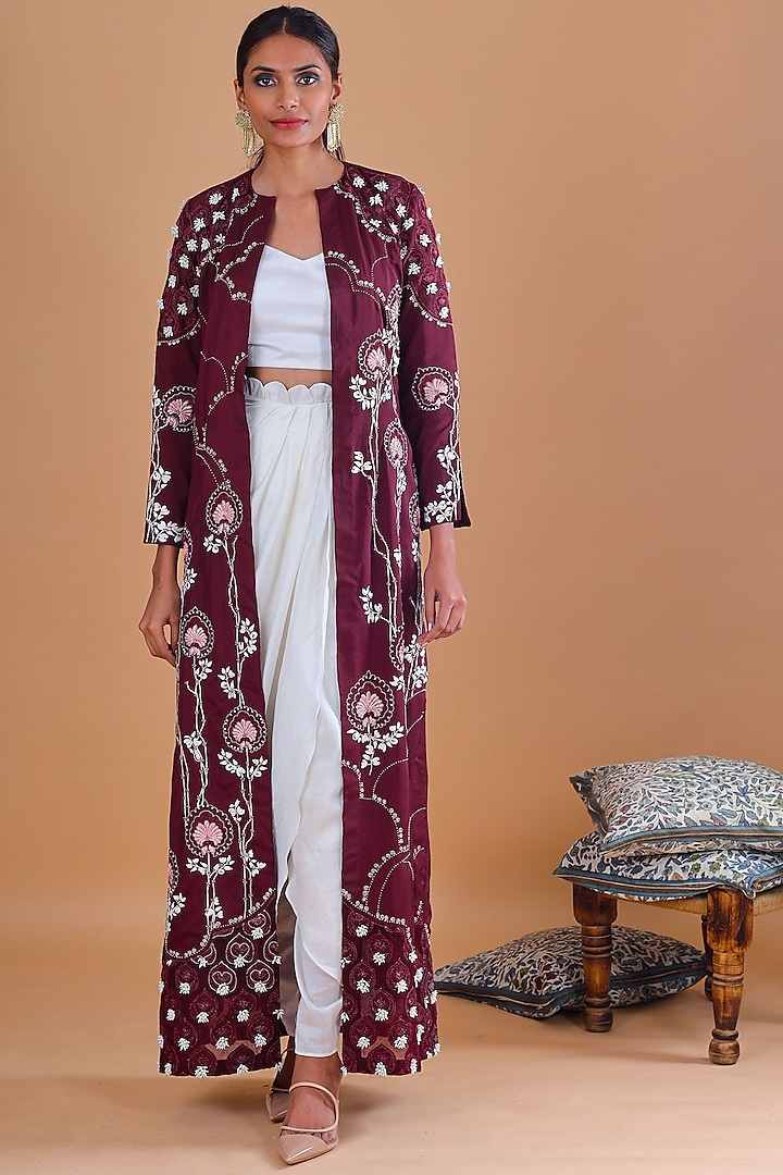 Burgundy Embroidered Jacket Set by Ek Soot