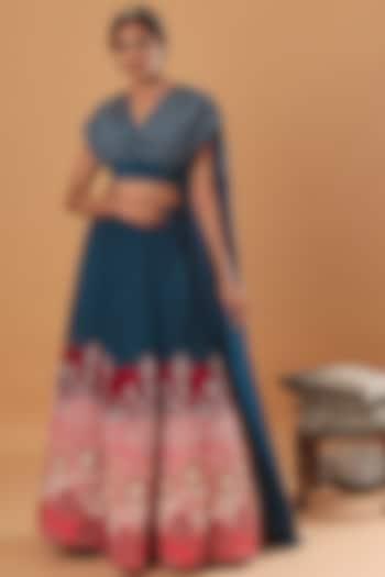 Teal Blue Embroidered Skirt Set by Ek Soot