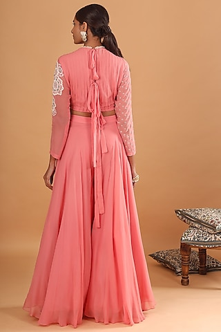 Pink Embroidered Draped Jumpsuit by Ek Soot