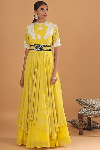 Lime Yellow Embroidered Jacket With Kalidar Kurta by Ek Soot