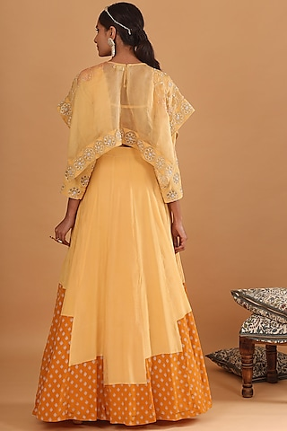 Light Yellow Embroidered Skirt Set by Ek Soot