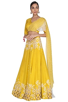 Mustard Embroidered Draped Lehenga Set by Ek Soot