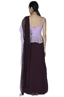 Aubergine Purple Embroidered Saree Set by Ek Soot