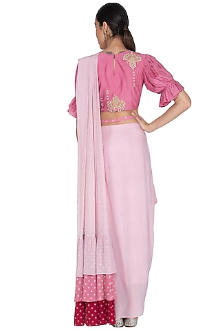 Rose Pink & Onion Pink Printed Embroidered Saree Set by Ek Soot