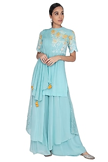 Light Turquoise Blue Embroidered Sharara Set by Ek Soot