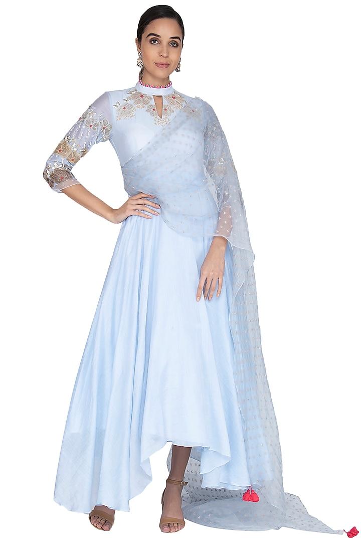 Light blue Embroidered Asymmetric Kalidar Anarkali With Dupatta by Ek Soot
