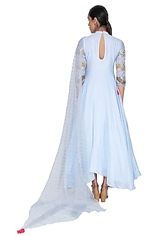 Light blue Embroidered Asymmetric Kalidar Anarkali With Dupatta by Ek Soot
