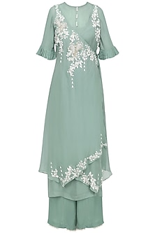 Sage Green Embroidered Asymmetrical Kurta with Inner and Palazzo Pants by Ek Soot