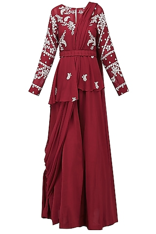 Red Embroidered Jacket with Jumpsuit and Drape Dupatta by Ek Soot