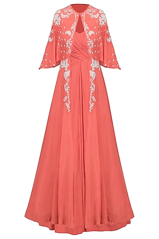Coral Ruched Anarkali Gown with Embroidered Cape by Ek Soot