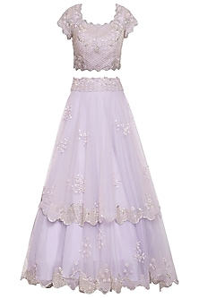 Lavender embroidered lehenga set by Eshaani Jayaswal