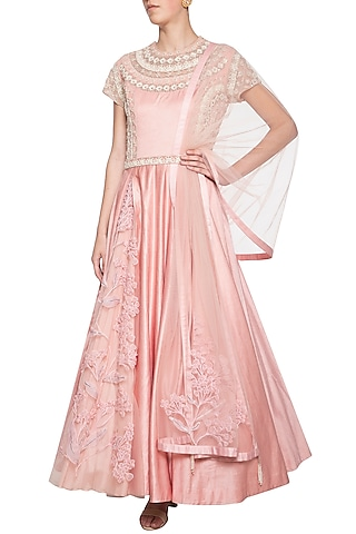 Pink embroidered anarkali gown set by Eshaani Jayaswal