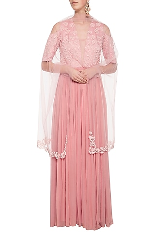 Brandy rose embroidered anarkali gown set by Eshaani Jayaswal