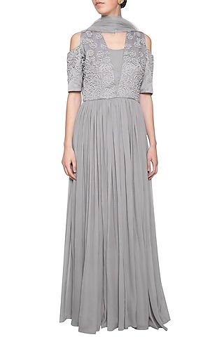 Grey embroidered anarkali gown set by Eshaani Jayaswal