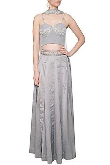 Grey embroidered corset lehenga set by Eshaani Jayaswal