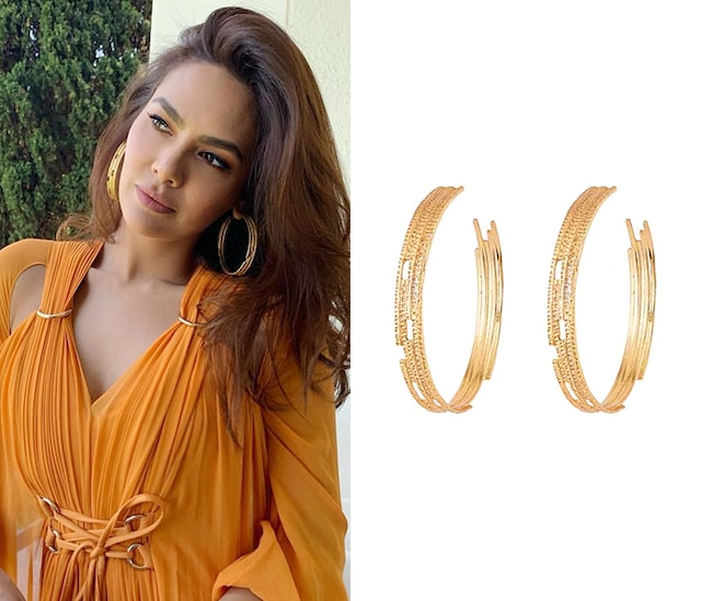 Gold Plated Textured Oversized Hoop Earrings by Flowerchild By Shaheen Abbas