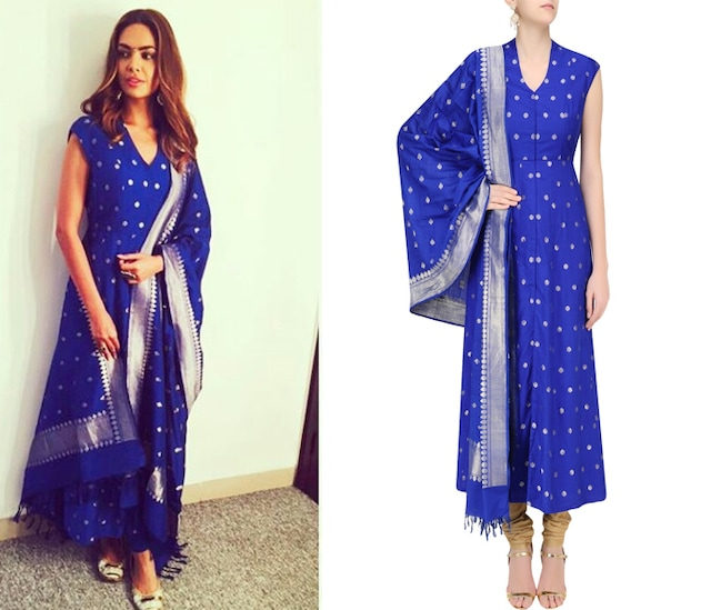Blue and Silver Brocade Kamagni Suit Set by Anita Dongre