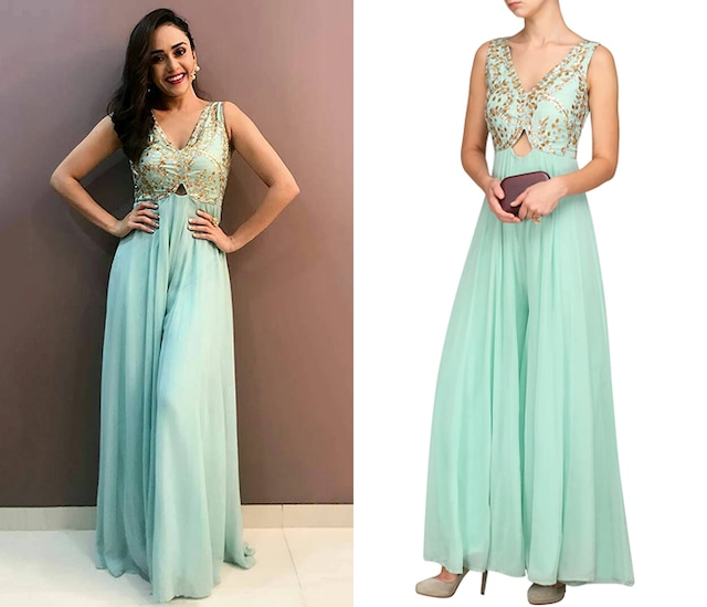 Ice Blue Embroidered Jumpsuit by Esha Koul