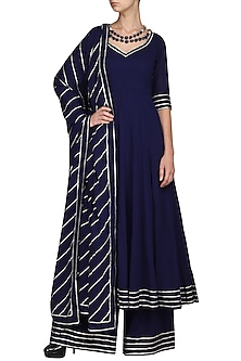 Blue Embroidered Anarkali with Palazzo Pants by Esha Koul