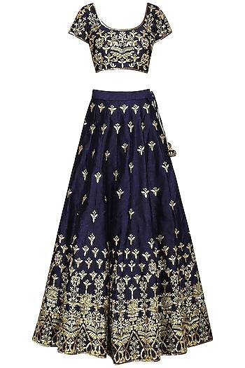 Dark Blue Embellished Lehenga Set by Esha Koul