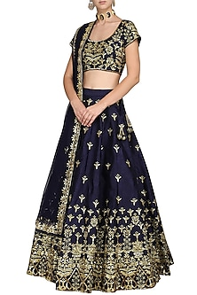 Dark Blue Embellished Lehenga Set by Esha Koul
