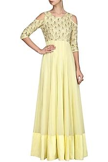 Lime Green Anarkali Gown by Esha Koul