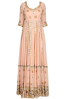 Baby Pink Embroidered Anarkali Gown by Esha Koul