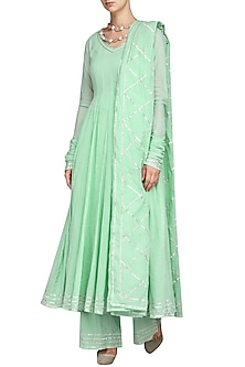 Mint Green Gota Embroidered Anarkali Set by Esha Koul
