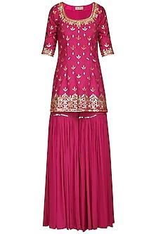 Pink Embroidered Sharara Set by Esha Koul