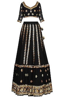 Black Sequin And Gota Embroidered Lehenga Set by Esha Koul
