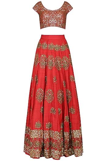 Red Embroidered Lehenga Set by Esha Koul