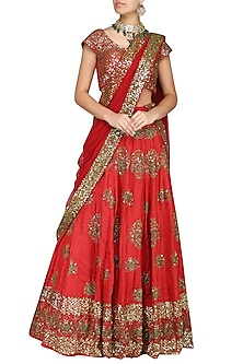 Red Embroidered Lehenga Set by Esha Koul