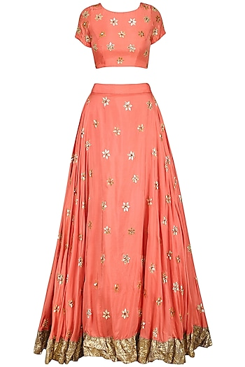 Coral Gota Patti Embroidered Lehenga Set by Esha Koul